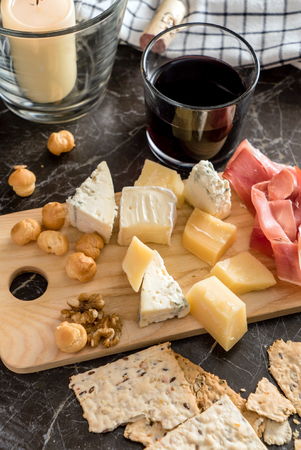cheeseboard: wine and cheese Stock Photo