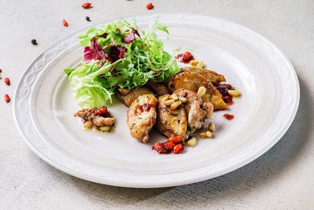 foie gras with salad Stock Photo