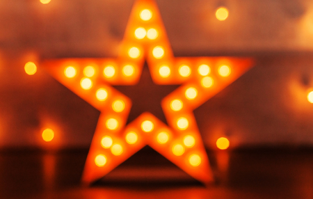 golden star with bulbs Stock Photo