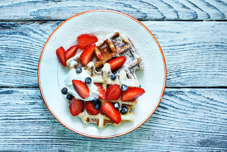waffles with fresh berries and cream Stock Photo