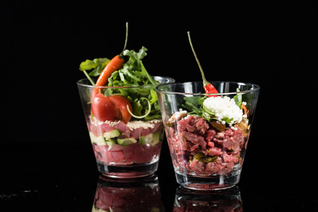 tartare in the glass Stock Photo