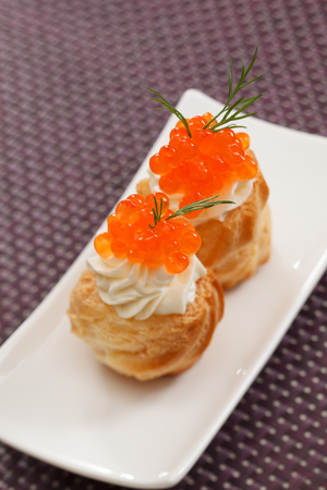 canape: canape with red caviar