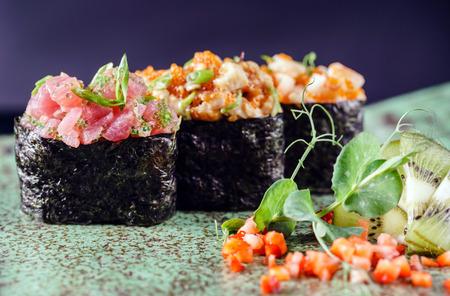sake: fusión de sushi  Foto de archivo