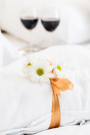 White towel in luxury boutique hotel Stock Photo