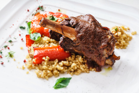 meat with millet Stock Photo