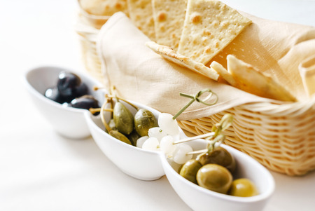 pita chips with olives Stock Photo