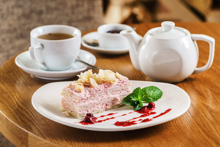 cake with tea Stock Photo