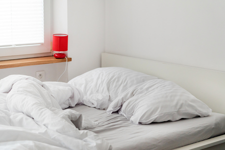 bed at home bedroom Stock Photo