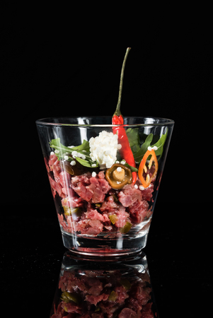 beef tartare in the glass