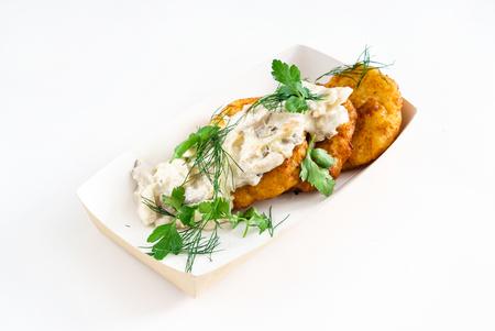 キノコとジャガイモのパンケーキ 写真素材
