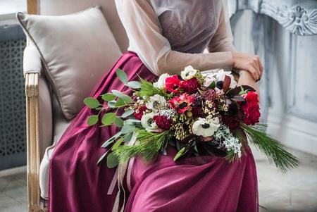 round chairs: wedding flowers Stock Photo