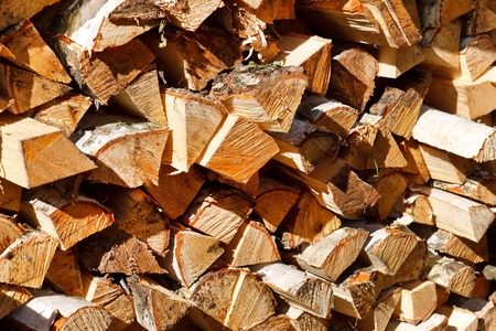 Pile of firewood background Stock Photo
