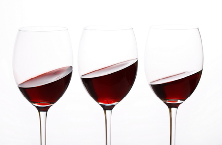 abstract liquor: glasses of red wine Stock Photo