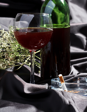 withering: wine and flowers Stock Photo