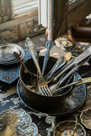 vintage spoons and forks Stock fotó - 80148039