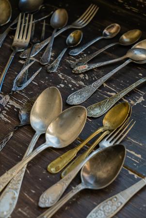 vintage spoons and forks Stock fotó - 80148065