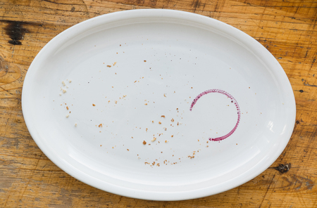 empty plate with wine stain