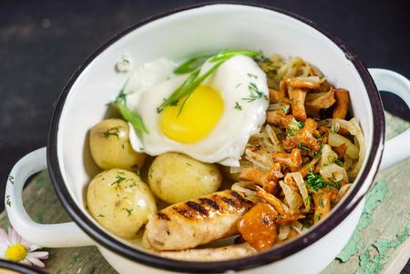 potato with sausage and mushrooms