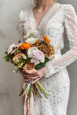 nice bride with flowers Stock Photo