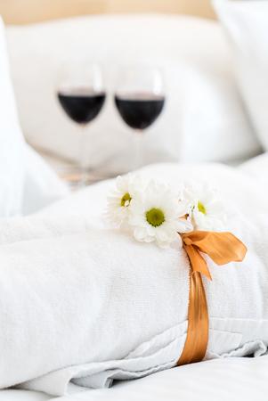 White towel in luxury boutique hotel Banco de Imagens