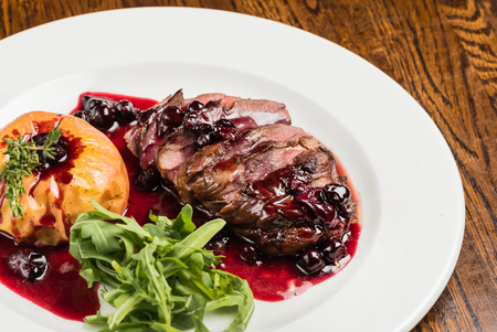 roasted beef with berry sauce Stock Photo