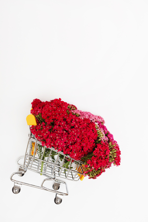 flowers in the shopping cart