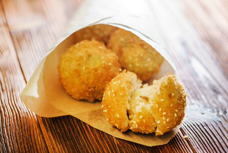 Arancini - fried rice balls 免版税图像