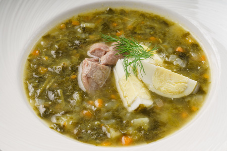 soup with egg and meat Stok Fotoğraf