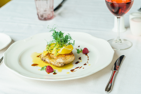 chicken leg with orange fillet and rose wine Stock Photo