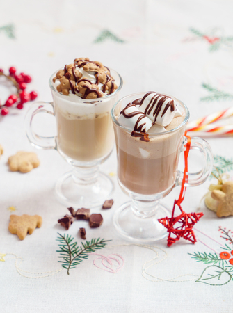 hot chocolate with marshmallow Stock Photo
