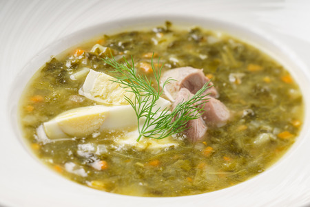 soup with egg and meat Banco de Imagens
