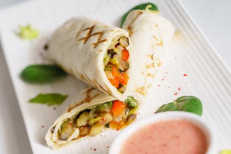 tortilla wrap with sauce