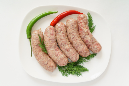 raw sausages Stock Photo