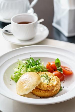 benedict: eggs benedict with fresh salad