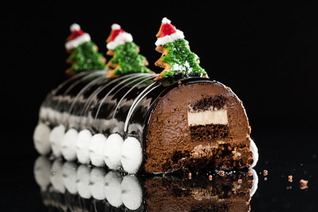 Chrismtas chocolate yule log Stock Photo