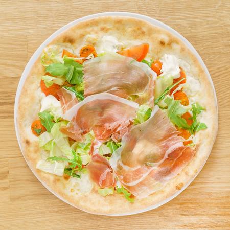 pizza with italian jamon Stock Photo
