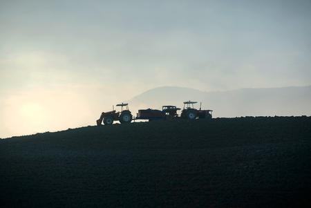 苗床の耕運機と土地を準備するトラクターの農家 報道画像