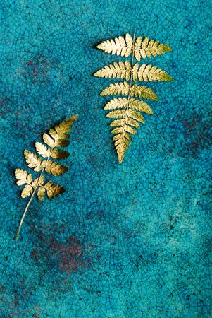 ゴールドのシダの葉 写真素材