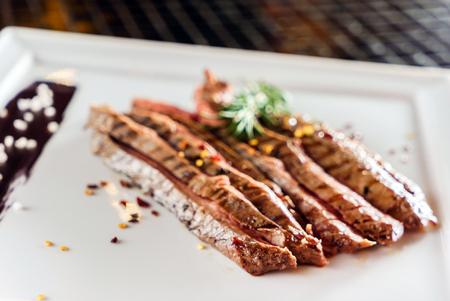 tasty steak with sauce Stock Photo