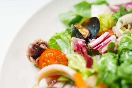 zeevruchten salade close-up uitzicht Stockfoto