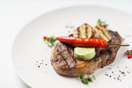 grilled steak close up view Banco de Imagens