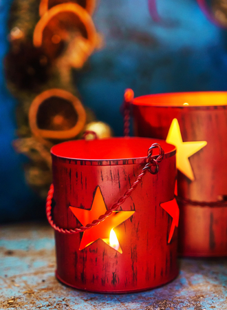 Christmas candles close up view Stock Photo - 85281669