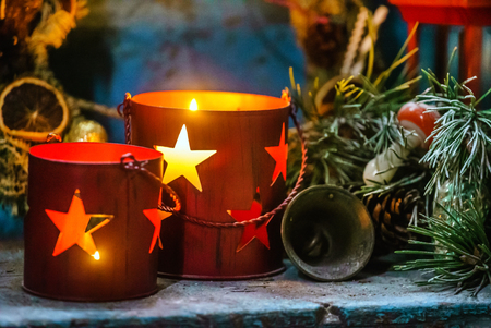 Christmas candles close up view Stock Photo