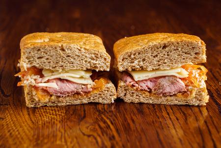 Savoureux sandwich close up view Banque d'images - 85281711
