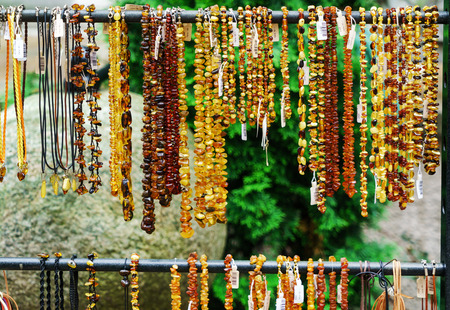 Amber beads for sale on an outdoor in Gdansk. Poland Banco de Imagens