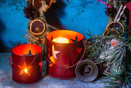 Christmas candles decoration Stock Photo
