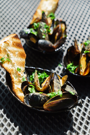 grilled mussels Stock Photo