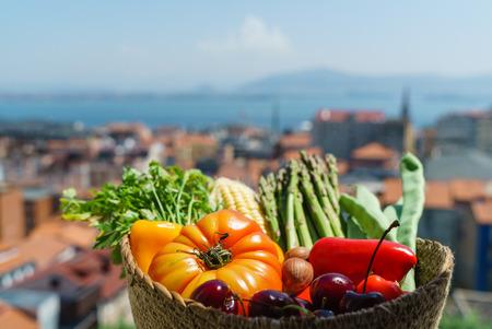 バスケットの中の新鮮な野菜