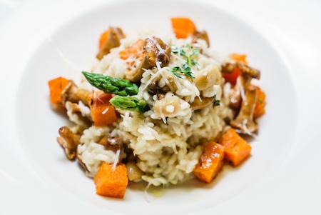 risotto met pompoen en cantharellen