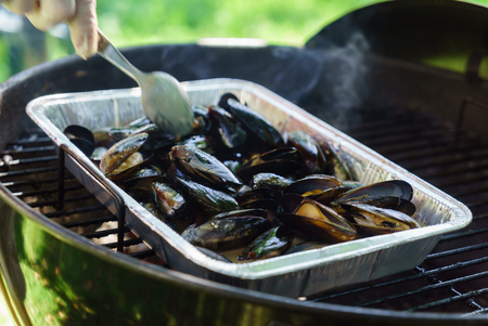 grilled mussels Stock fotó